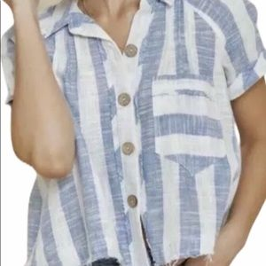 Free people blue skies stripes top size large NWT